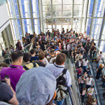 Crowds in escalator @ SXSW 2011