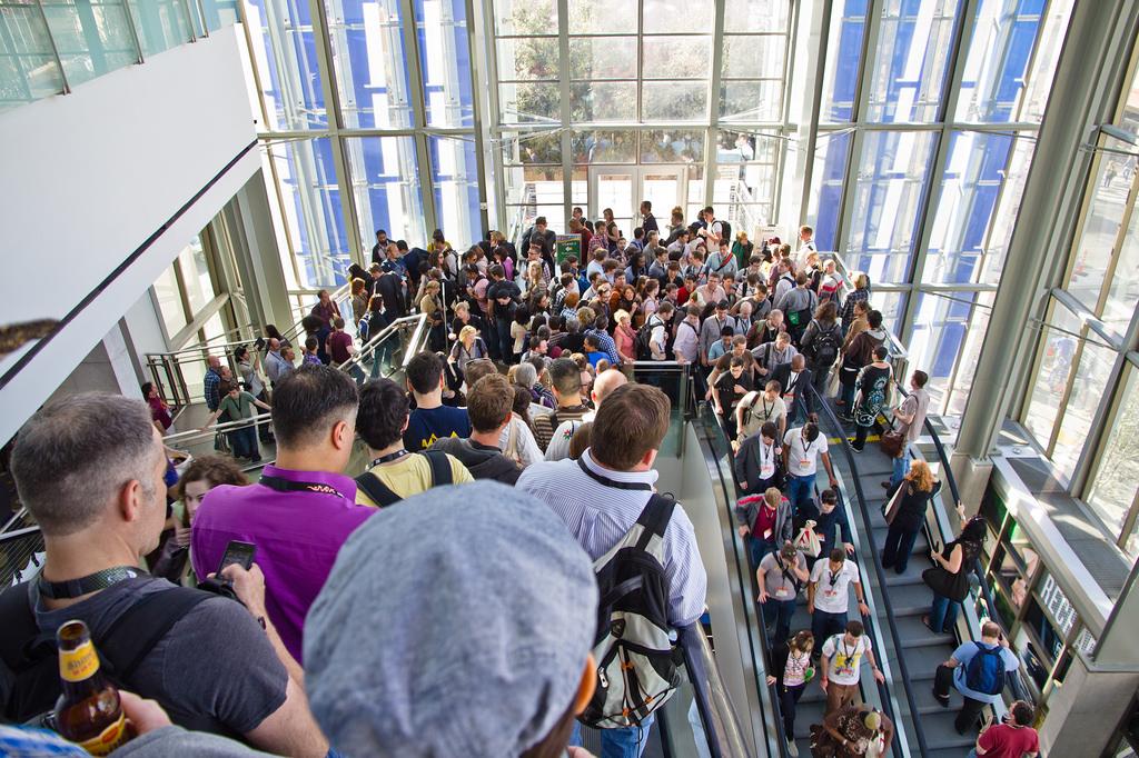 Crowds in escalator @ SXSW 2011